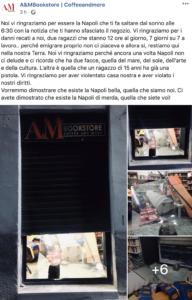 Furto con scasso alla A&M Bookstore, libreria di via Duomo